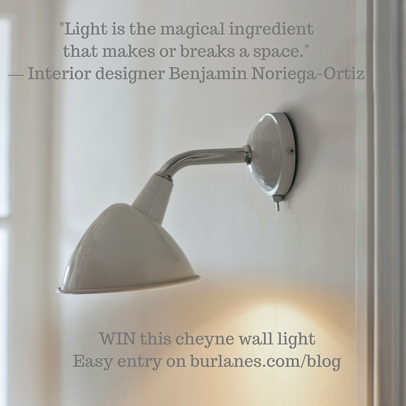 Win a burlanes wall light in our gveaway