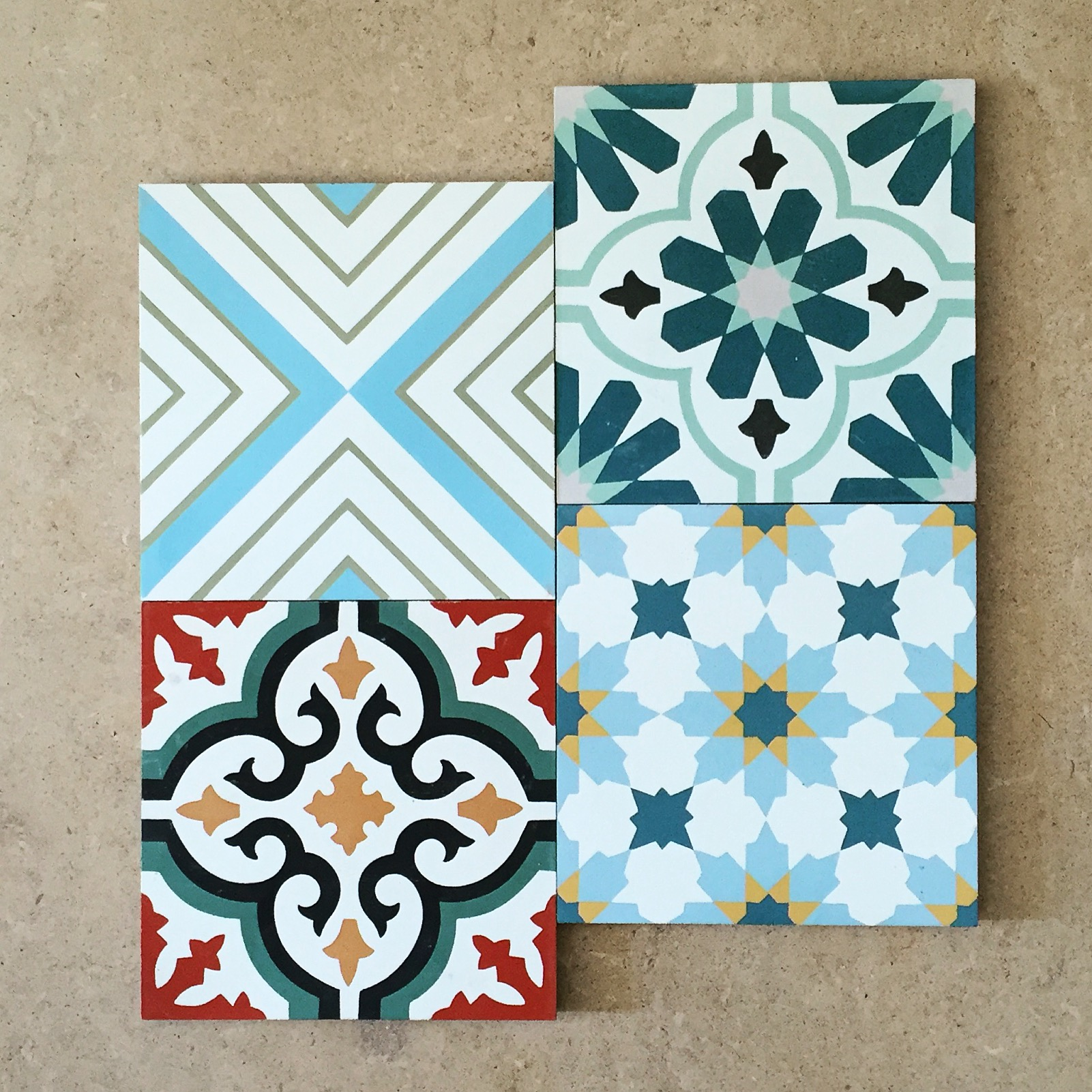 Encaustic tiles at burlanes Sevenoaks showroom