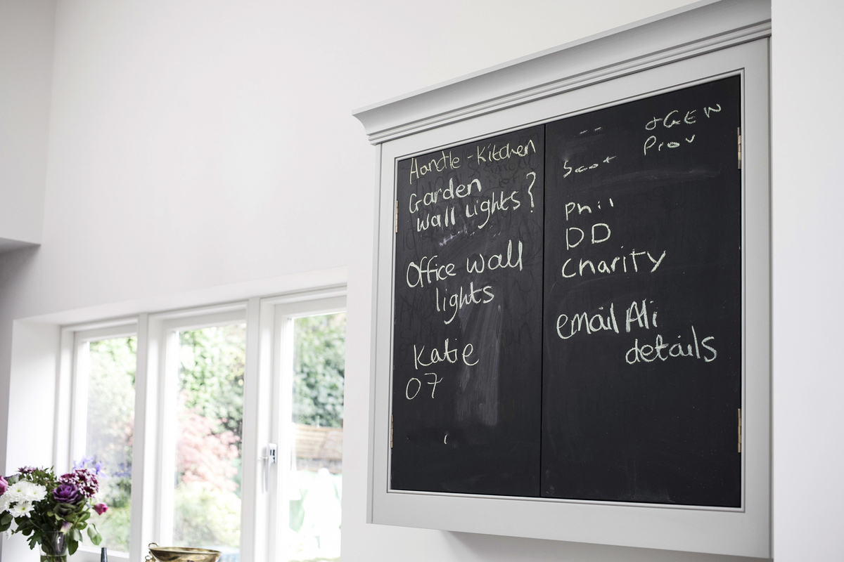 Chalk board paint on a cupboard