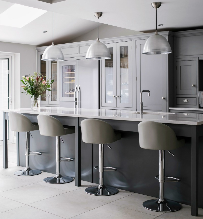 A sleek Burlanes kitchen island