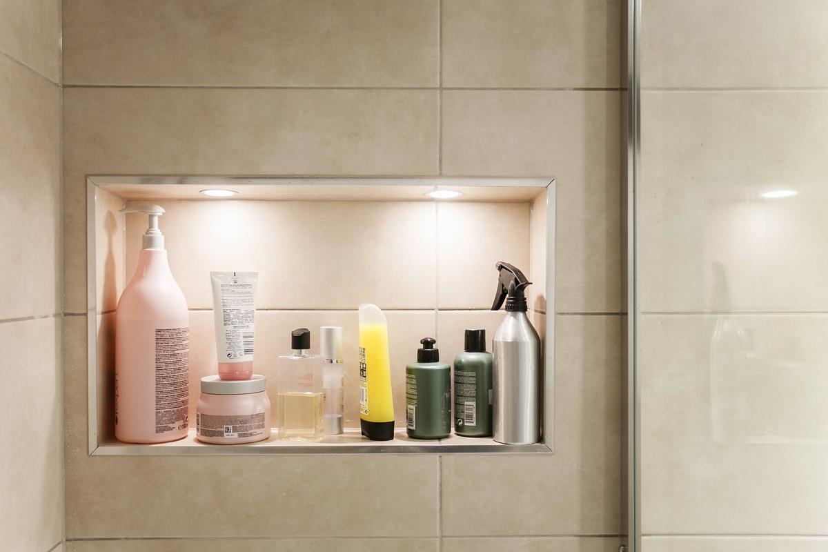 Exploit wall space in small bathrooms