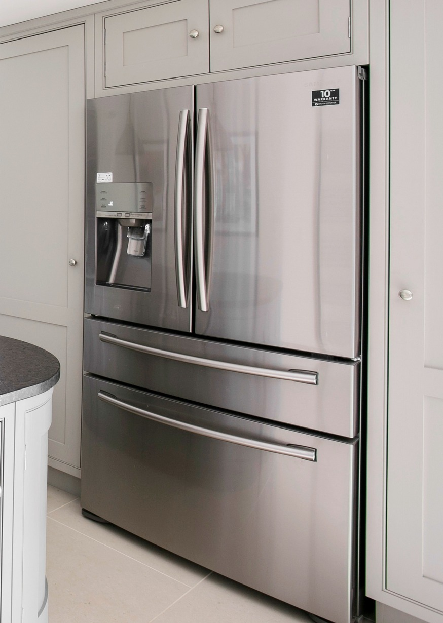 A french door fridge freezer with chilled and sparkling water dispenser