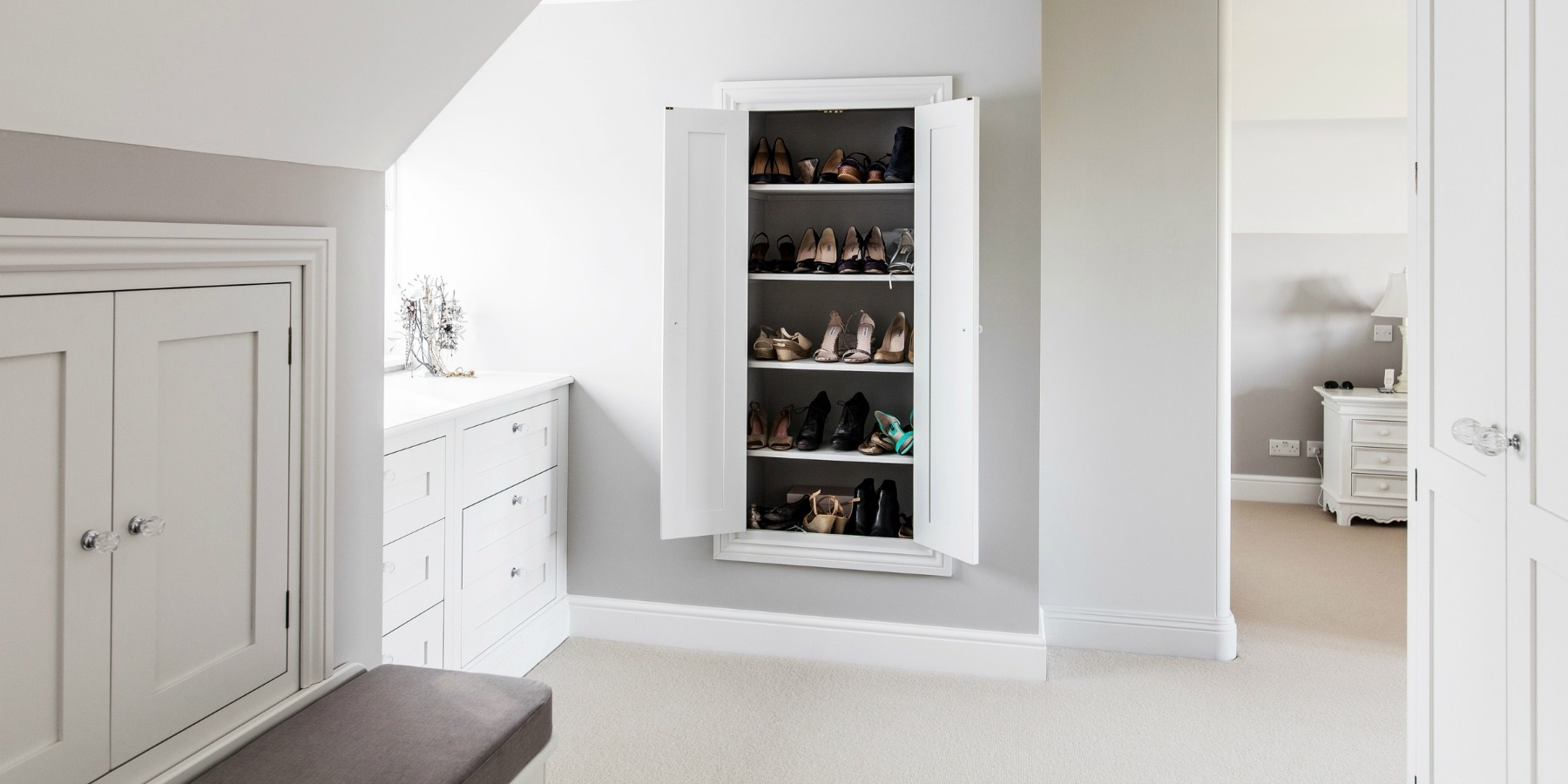 Bespoke Bedroom Storage Solutions - Burlanes handmade bedroom furniture, banquette seating and bespoke shoe storage solutions.