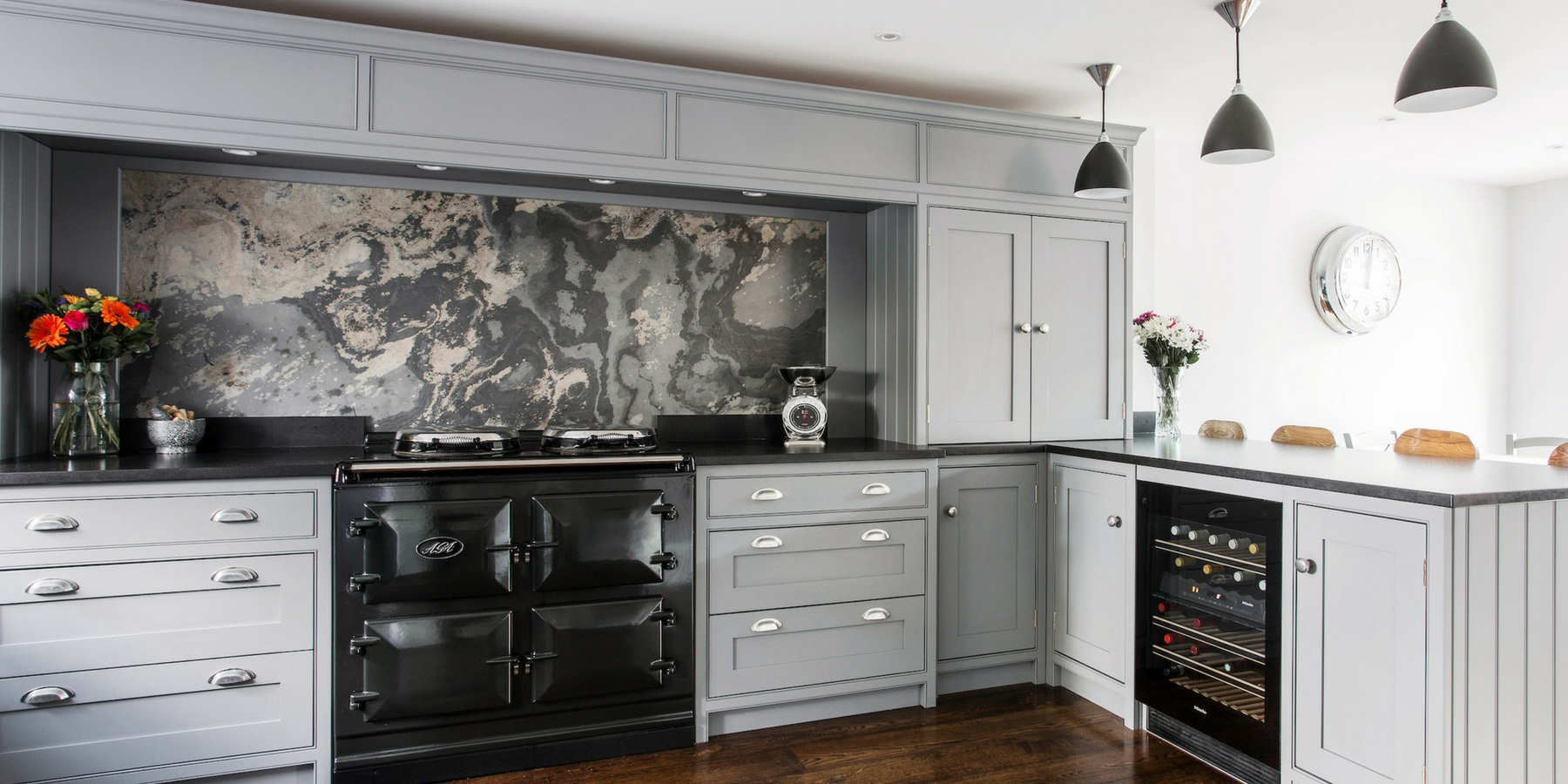 Bespoke Grey Luxury Shaker Kitchen - Burlanes handmade Wellsdown grey kitchen with black worktops, classic AGA Range and marble splashback.