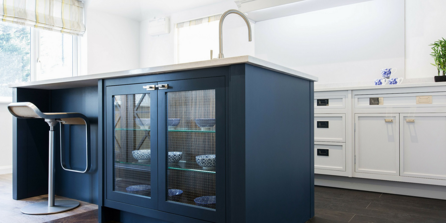 Bespoke Blue Contemporary Shaker Kitchen - Burlanes handmade Decolane kitchen island with glass doors.