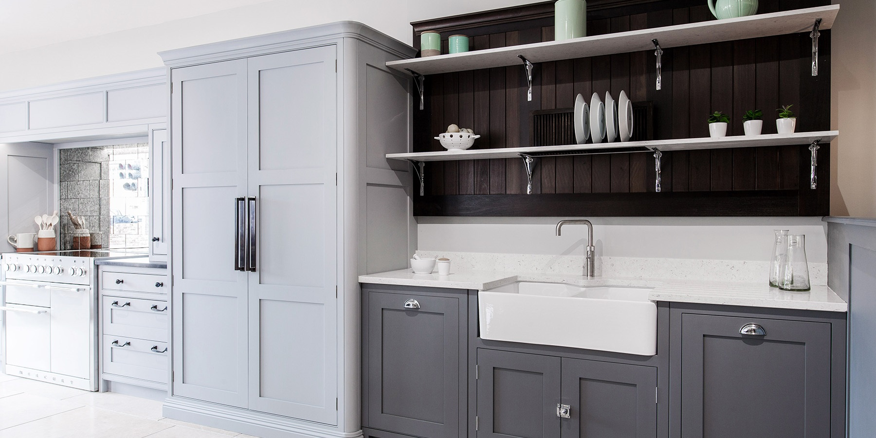 Burlanes Interiors Chelmsford Showroom - Burlanes Chelmsford'S bespoke Wellsdown kitchen with large freestanding larder and integrated refrigerator.