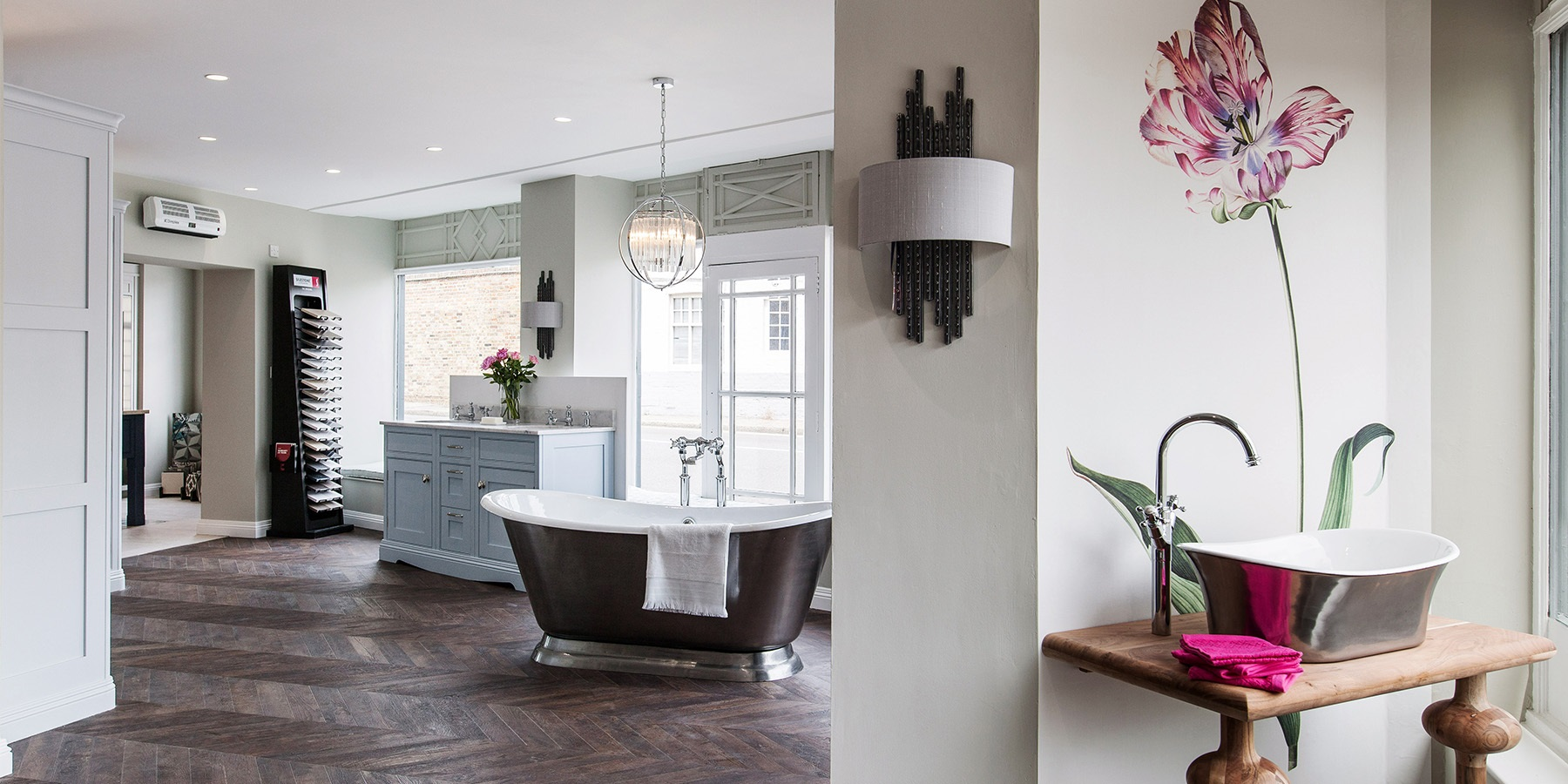 Burlanes Interiors Chelmsford Showroom - Burlanes bespoke, handmade furniture, and Hurlingham cast iron roll top bath.