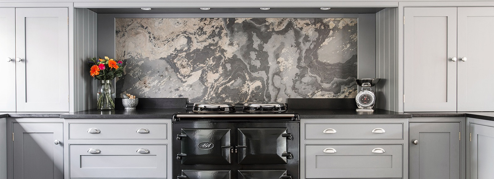 Bespoke Luxury Kitchen - Burlanes bespoke wellsdown kitchen with marble splashback and AGA range.