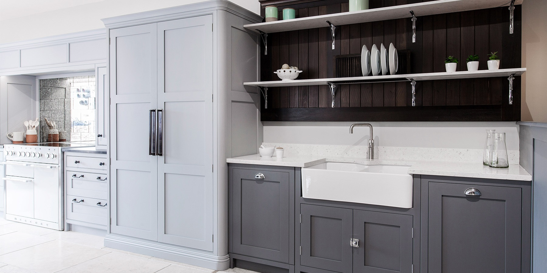 Beautiful Handmade Kitchen Larder - Burlanes classic Hoyden kitchen larder in grey, as part of our kitchen display at Burlanes Chelmsford.