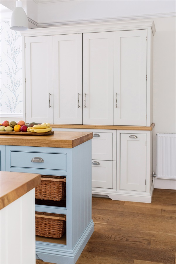 Bespoke Shaker Kitchen - Burlanes handmade Wellsdown country kitchen island with bespoke breakfast pantry with bi-fold doors.