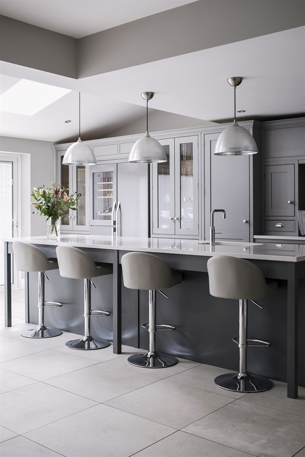 Bespoke Luxury Kitchen - Burlanes handmade luxury grey kitchen island with bar stools and pendant lighting.