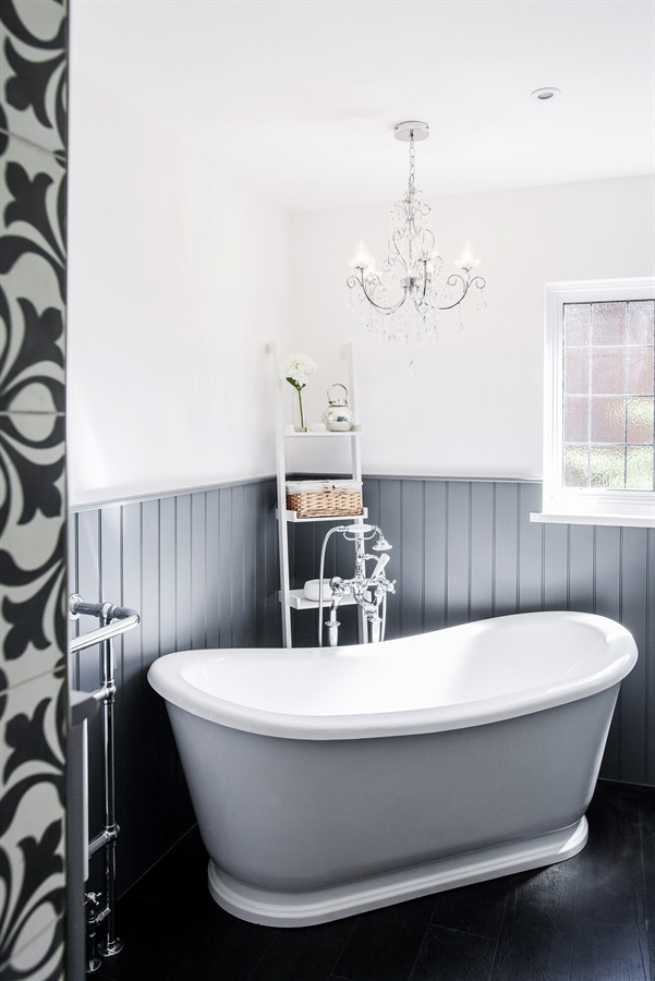Bespoke Boutique Bathroom Design - Burlanes boutique hotel style bathroom with roll top bath and shaker wall panelling.