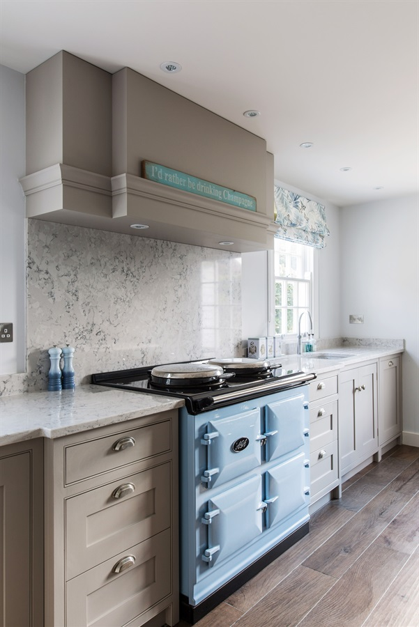 Handmade Grey Country Kitchen - Burlanes Wellsdown shaker kitchen with white marble worktops and a classic AGA range.