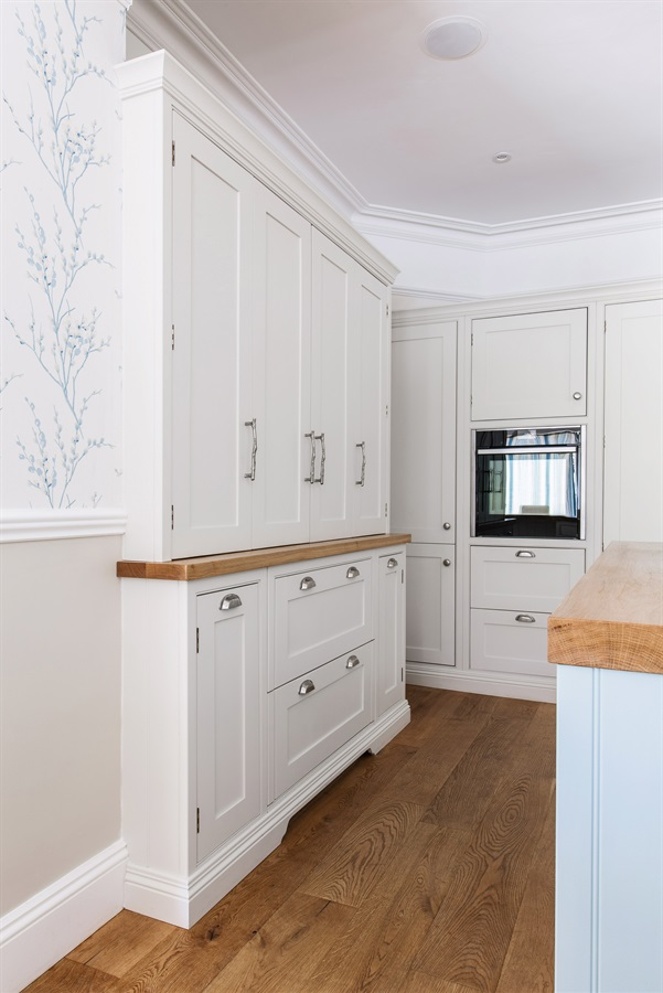 Bespoke Breakfast Pantry & Larder - Burlanes handmade Wellsdown breakfast pantry and larder, with blue central island and wooden worktops.
