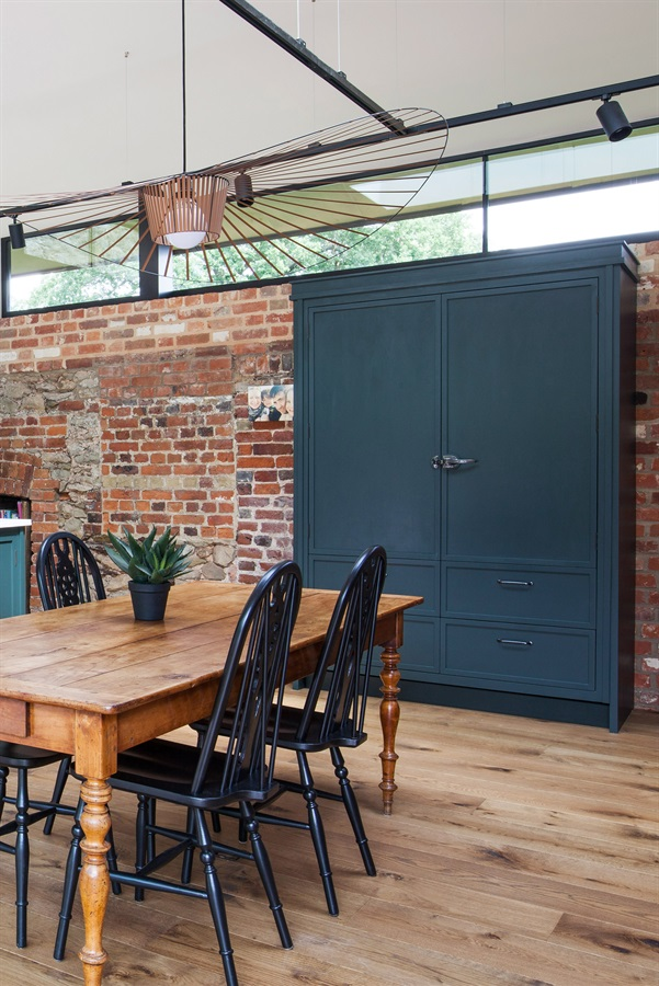 Bespoke Freestanding Larder - Burlanes handmade freestanding larder, handpainted in Farrow & Ball 'Studio Green', with handmade sand cast fridge latch.