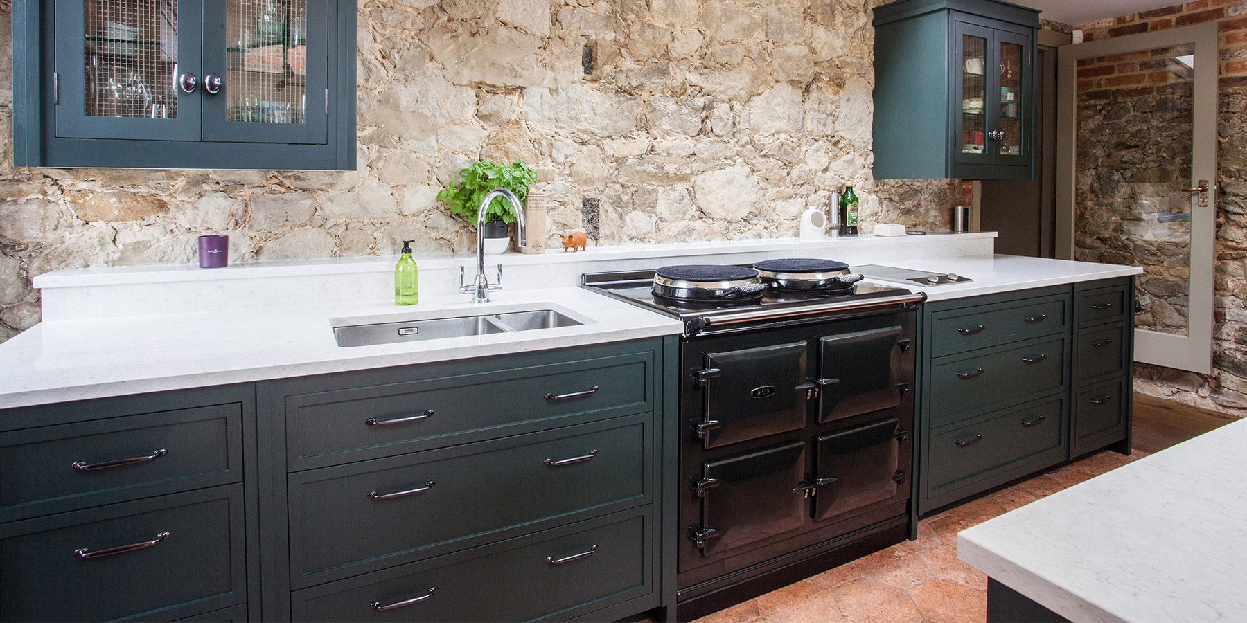 Bespoke Rustic Kitchen With AGA Total Control - Handmade Decolane kitchen furniture in 'Studio Green' by Farrow & Ball, with classic AGA Total Control in Black.