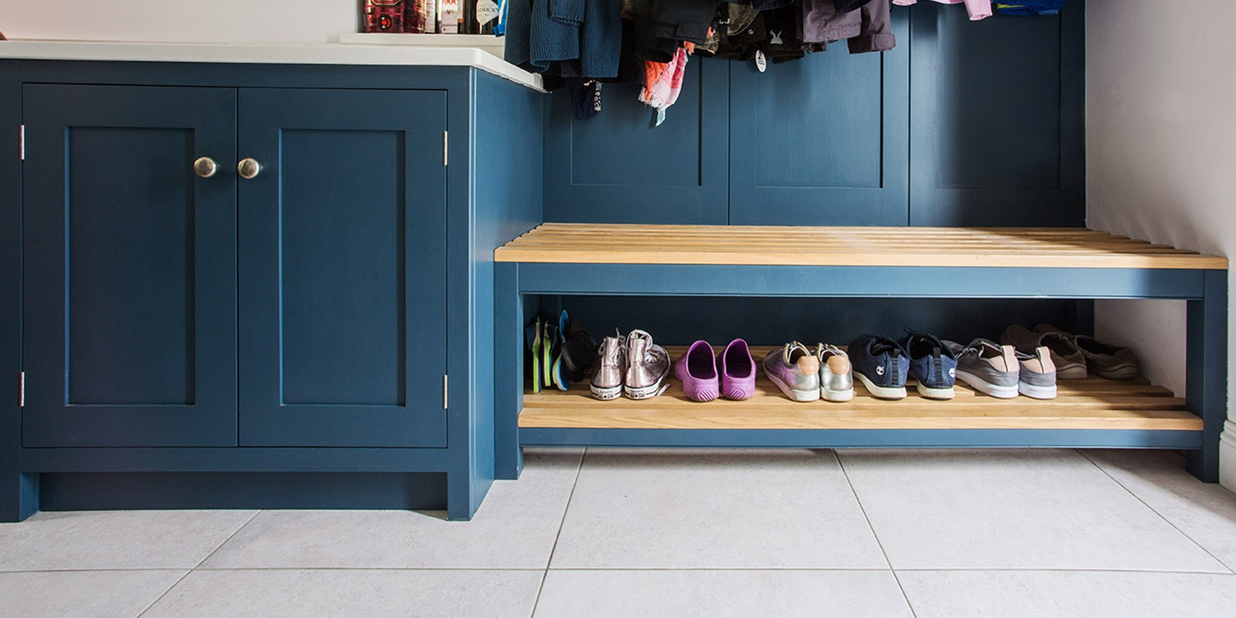 Bespoke Bootroom Storage Solutions - Handmade bench seating with shoe storage solutions.