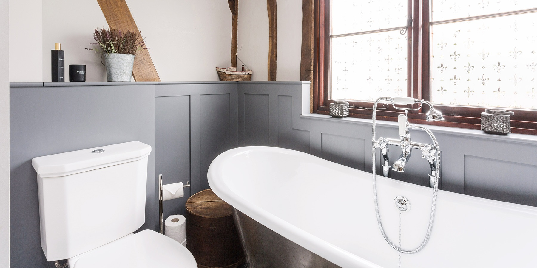 Bespoke Bathroom Furniture - Handmade shaker wall panelling and beautiful bathroom furniture with handmade cast iron roll top bath by Hurlingham.