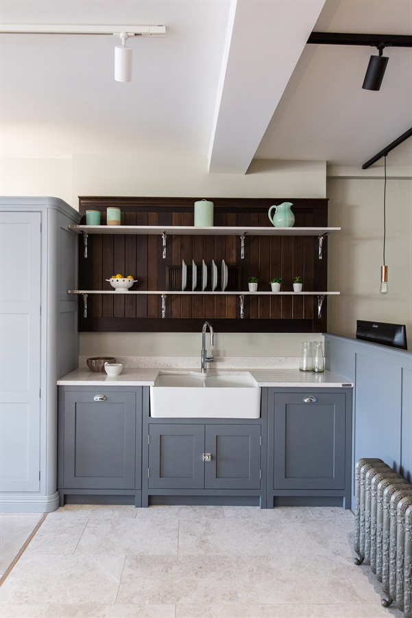 Burlanes Interiors Chelmsford Showroom - Burlanes Chelmsford's Hoyden kitchen with Bulter sink and church style wall panelling.
