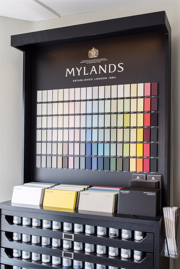 Burlanes Interiors Chelmsford Showroom - Mylands paint display at Burlanes Chelmsford.