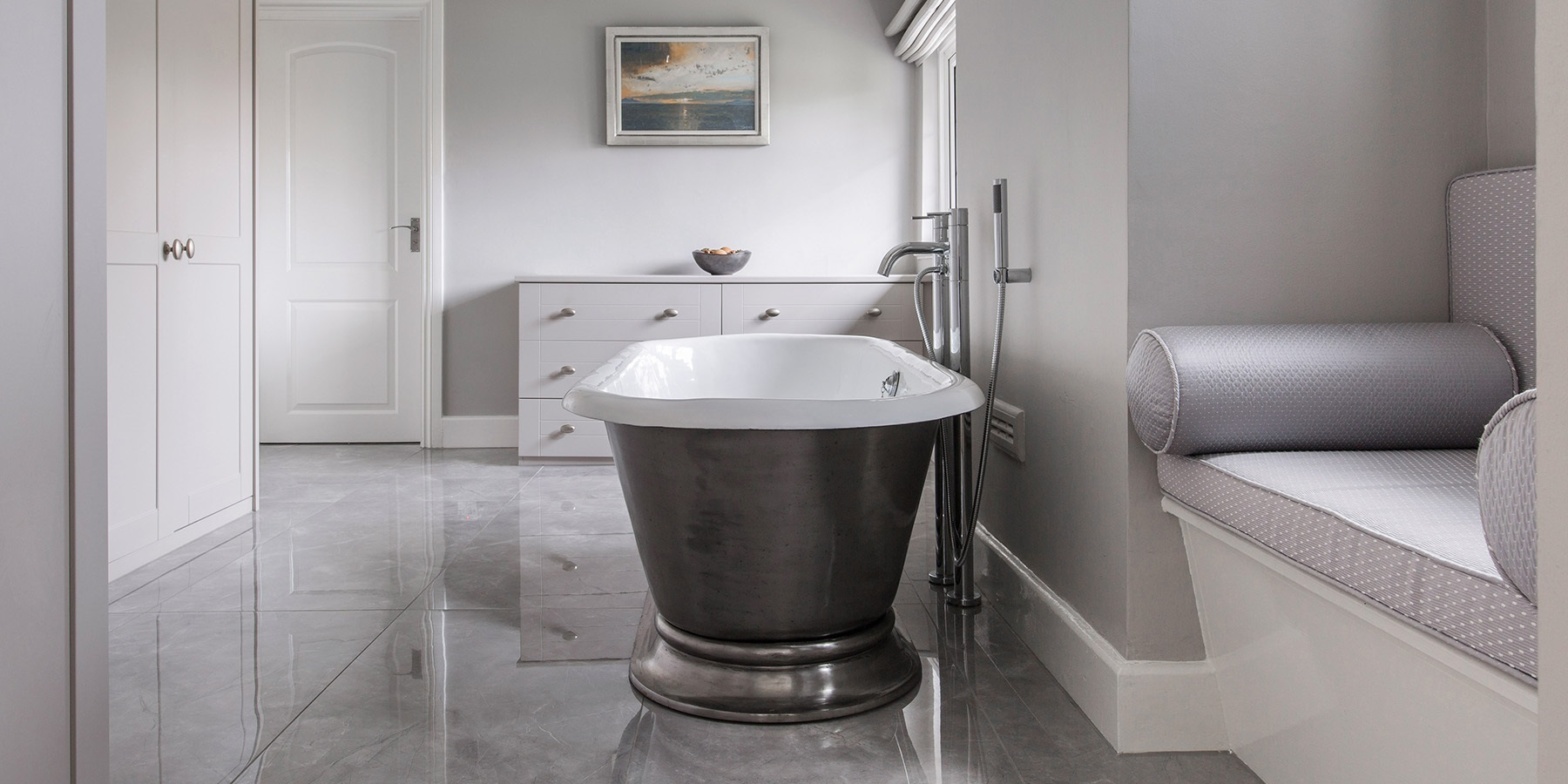 Burlanes Bespoke Bathroom Design - Luxury bathroom design with handmade cast iron Hurlingham roll top bath.