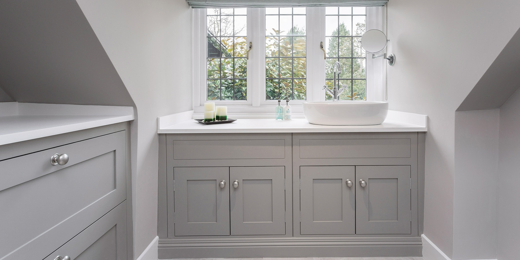 Bespoke Luxury Bathroom Vanity - Burlanes handmade grey vanity unit with vessel basin and white worktop.