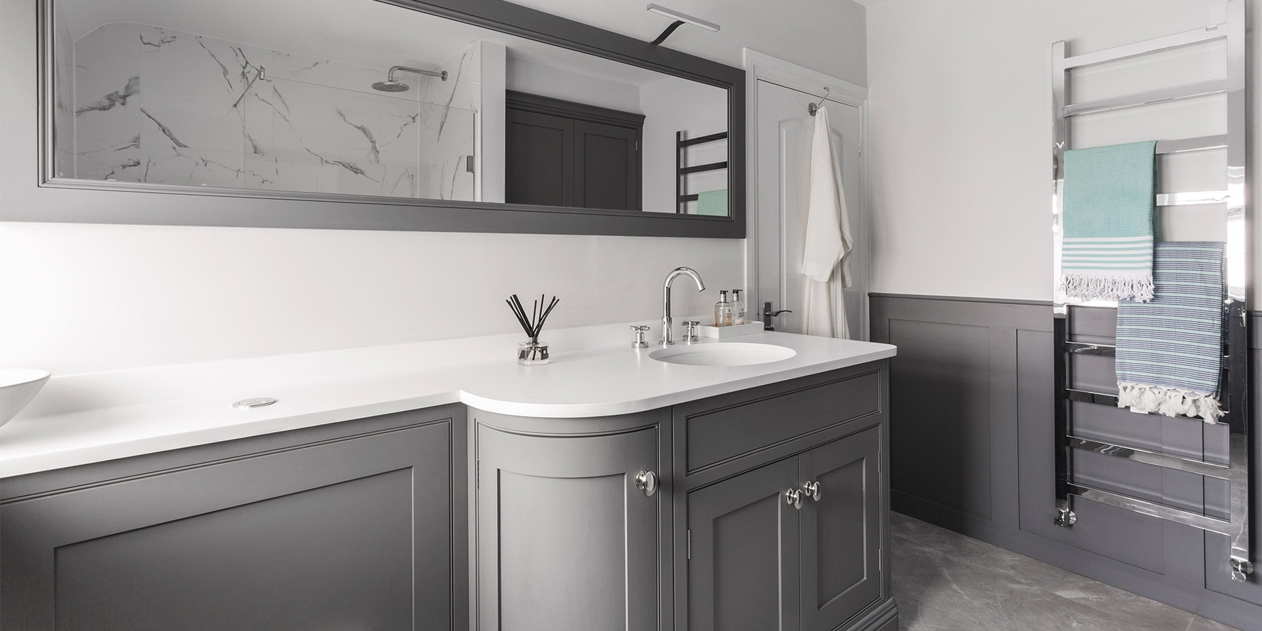 Bespoke Bathroom Vanity  - Burlanes handmade grey bathroom furniture with curved vanity and storage solutions.
