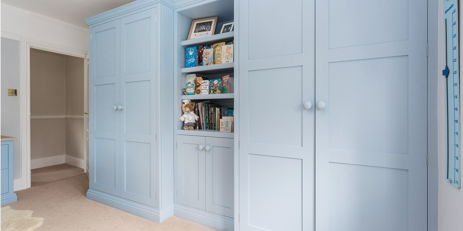 Bespoke Children's Freestanding Wardrobes - Burlanes handmade freestanding wardrobes, handpainted in Mylands 'Morning Blue'.