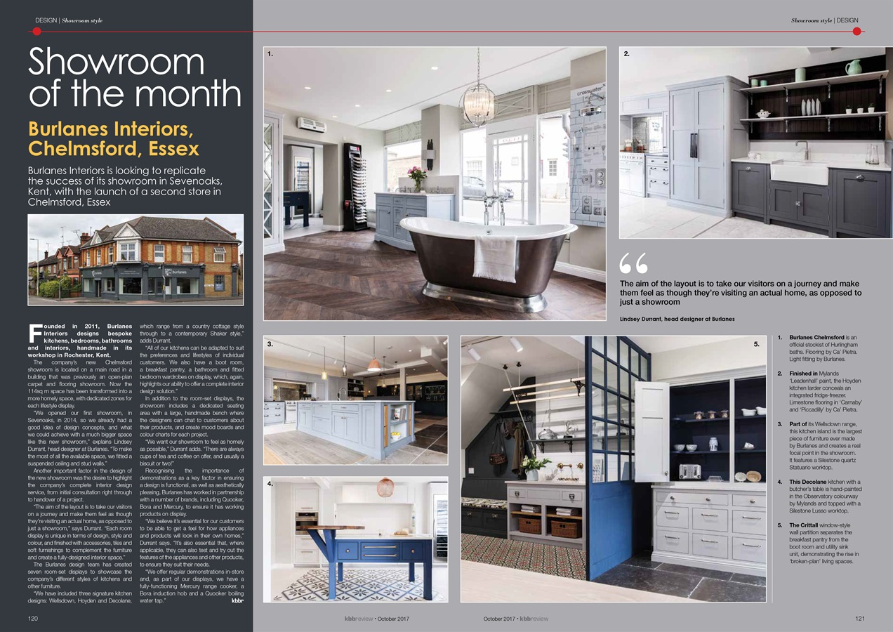 Burlanes Interiors Press Coverage - Burlanes Chelmsford is kbbreview's showroom of the month
