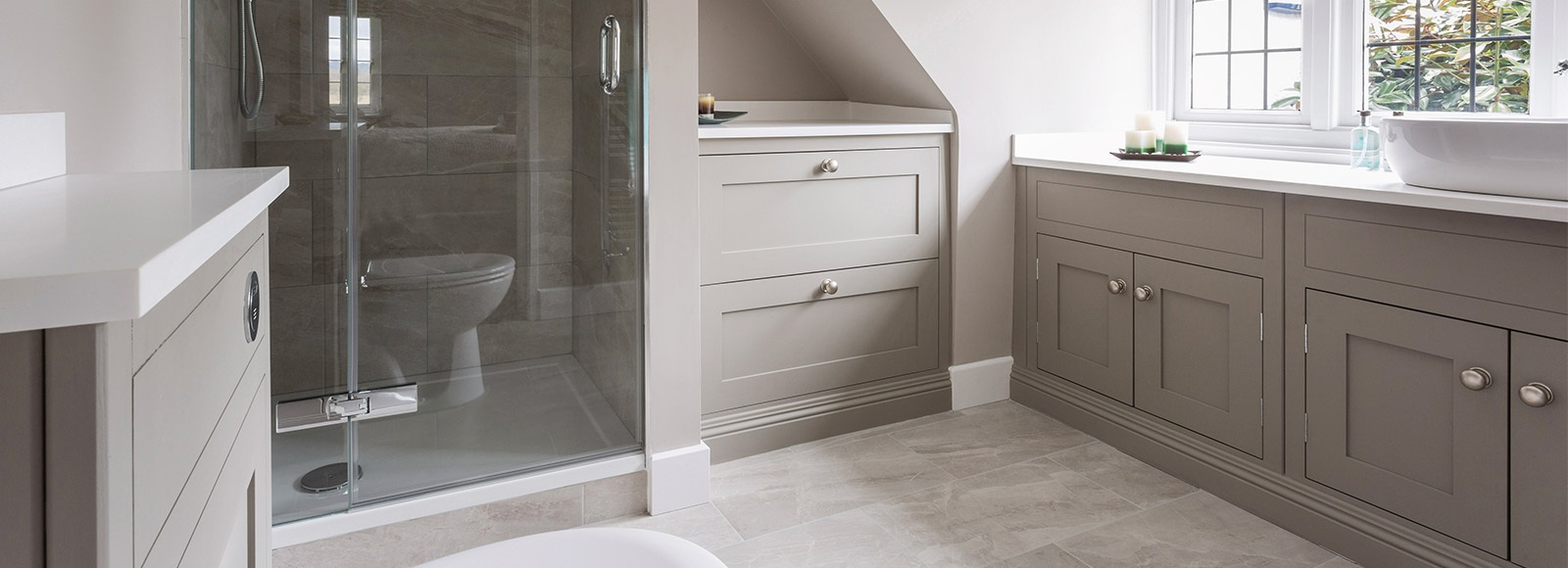 Luxury Bespoke Guest Bathroom - Burlanes handmade bathroom vanity with vessel basin and walk-in shower enclosure.