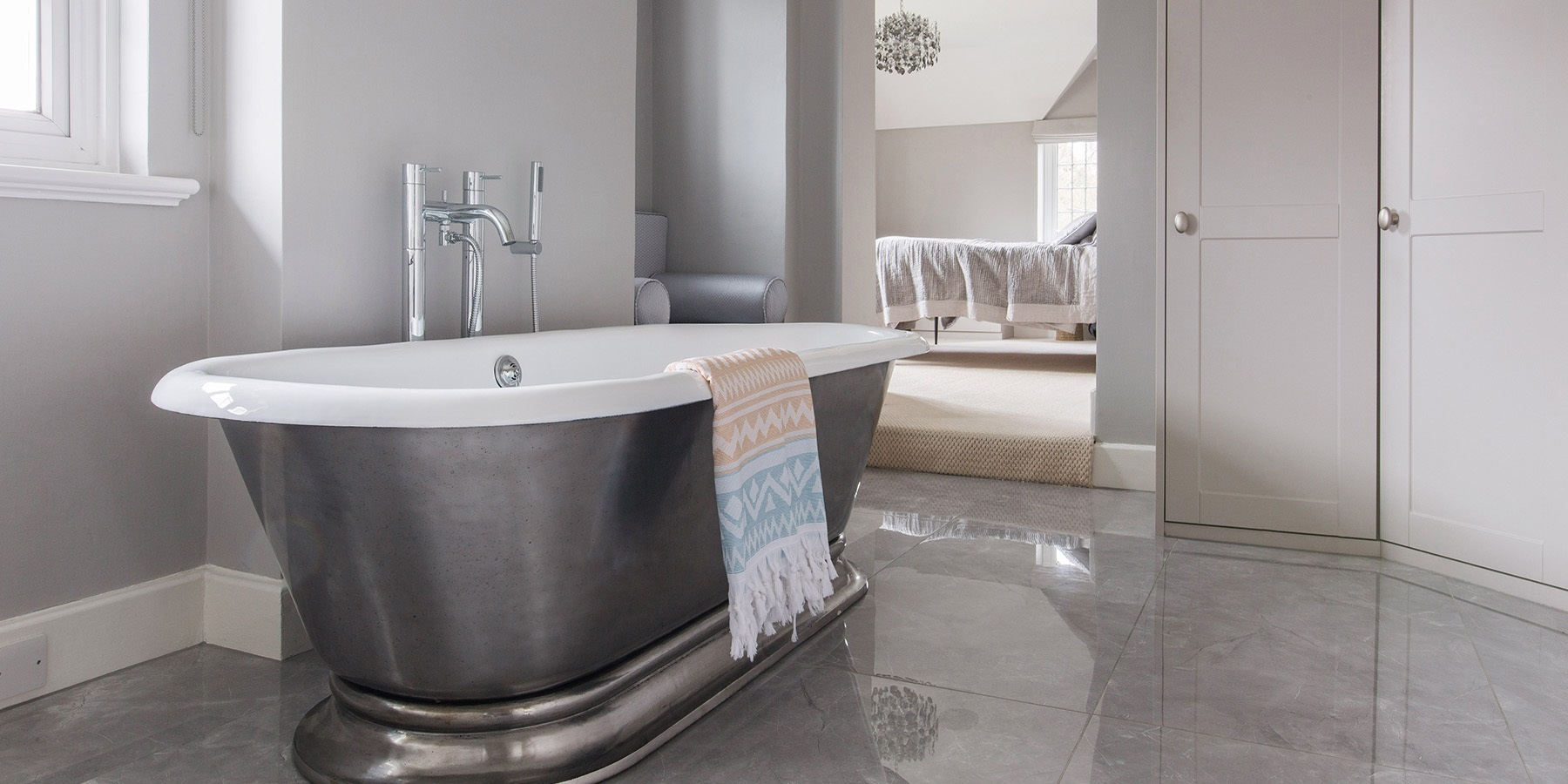 Luxury Bathroom Design - Beautiful handmade Hurlingham cast iron roll top bath and dressing room design.