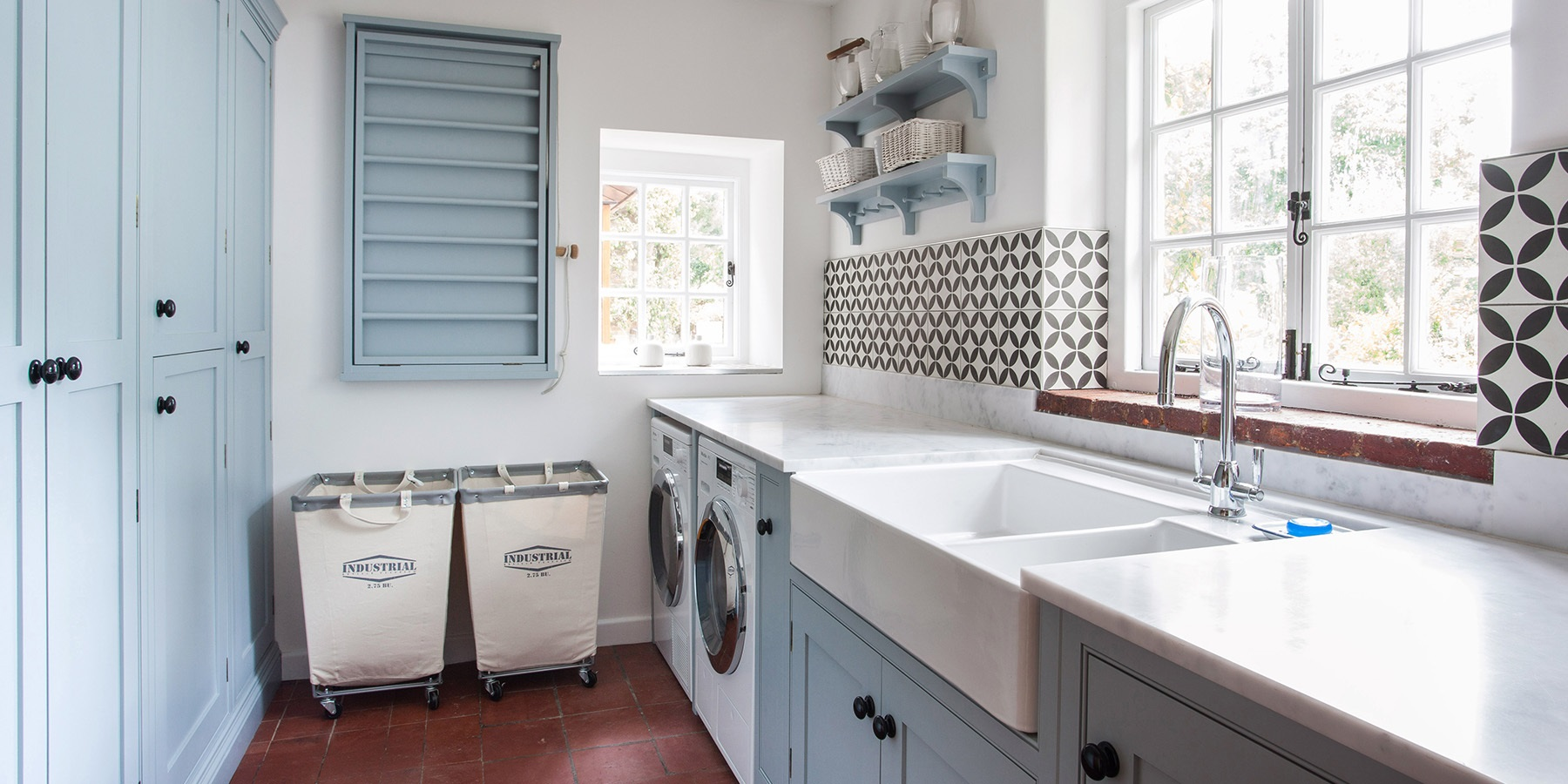 Handmade Traditional Utility Room Furniture - Burlanes bespoke utility room furniture with sheila maid, belfast sink and beautiful encaustic tiles by Ca'Pietra.