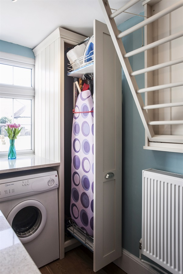 Bespoke Laundry Room Furniture - Made-to-measure laundry room furniture with concealed ironing board and appliances.