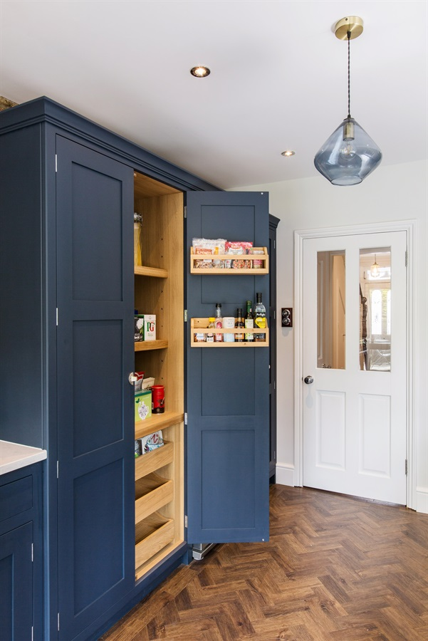 Handmade Classic Shaker Style Larder - Bespoke tall larder unit with oak interior, with adjustable shelves, spice racks and pull out vegetable drawers