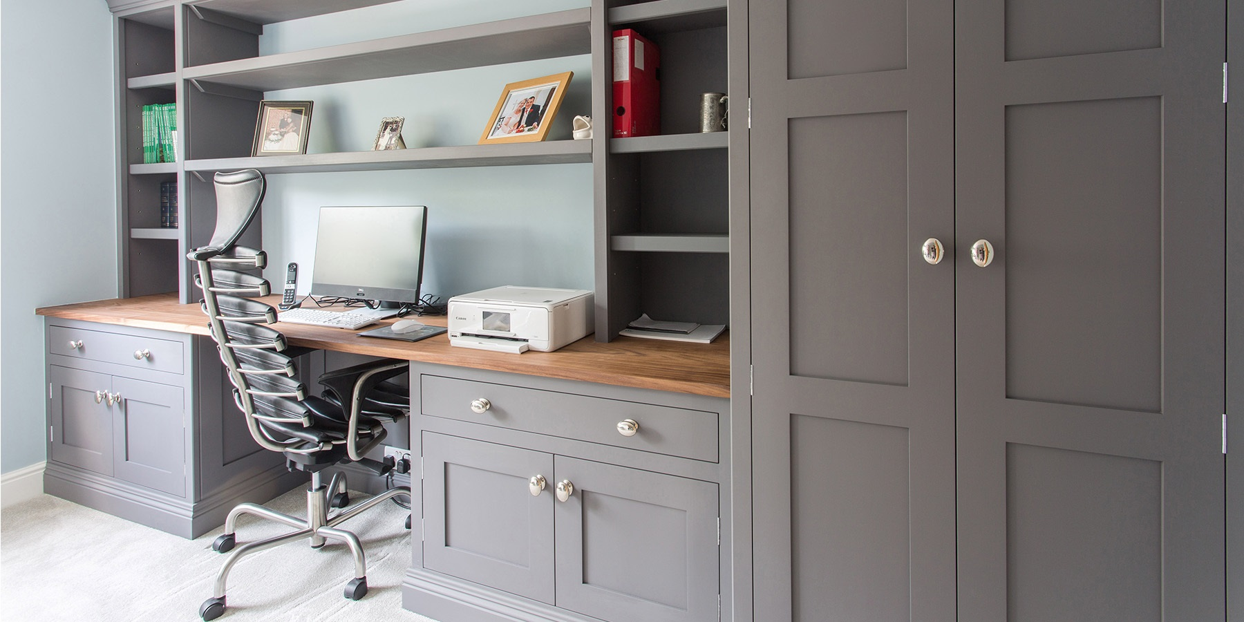 Bespoke Home Office Furniture - Handmade grey home office furniture and storage solutions.