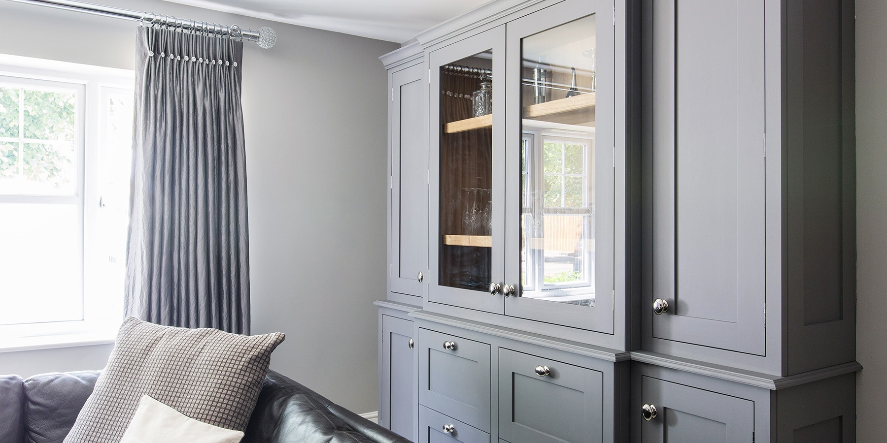 Bespoke Living Room Dresser - Handmade grey dresser unit with glass shelves and doors.