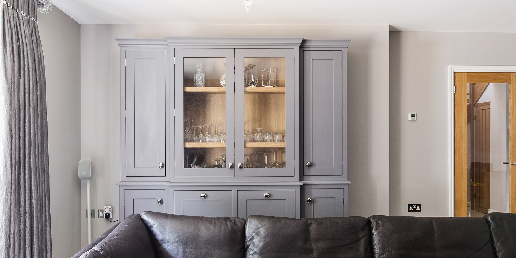 Bespoke Dresser Unit - Handmade grey dresser unit with glass shelves and doors.