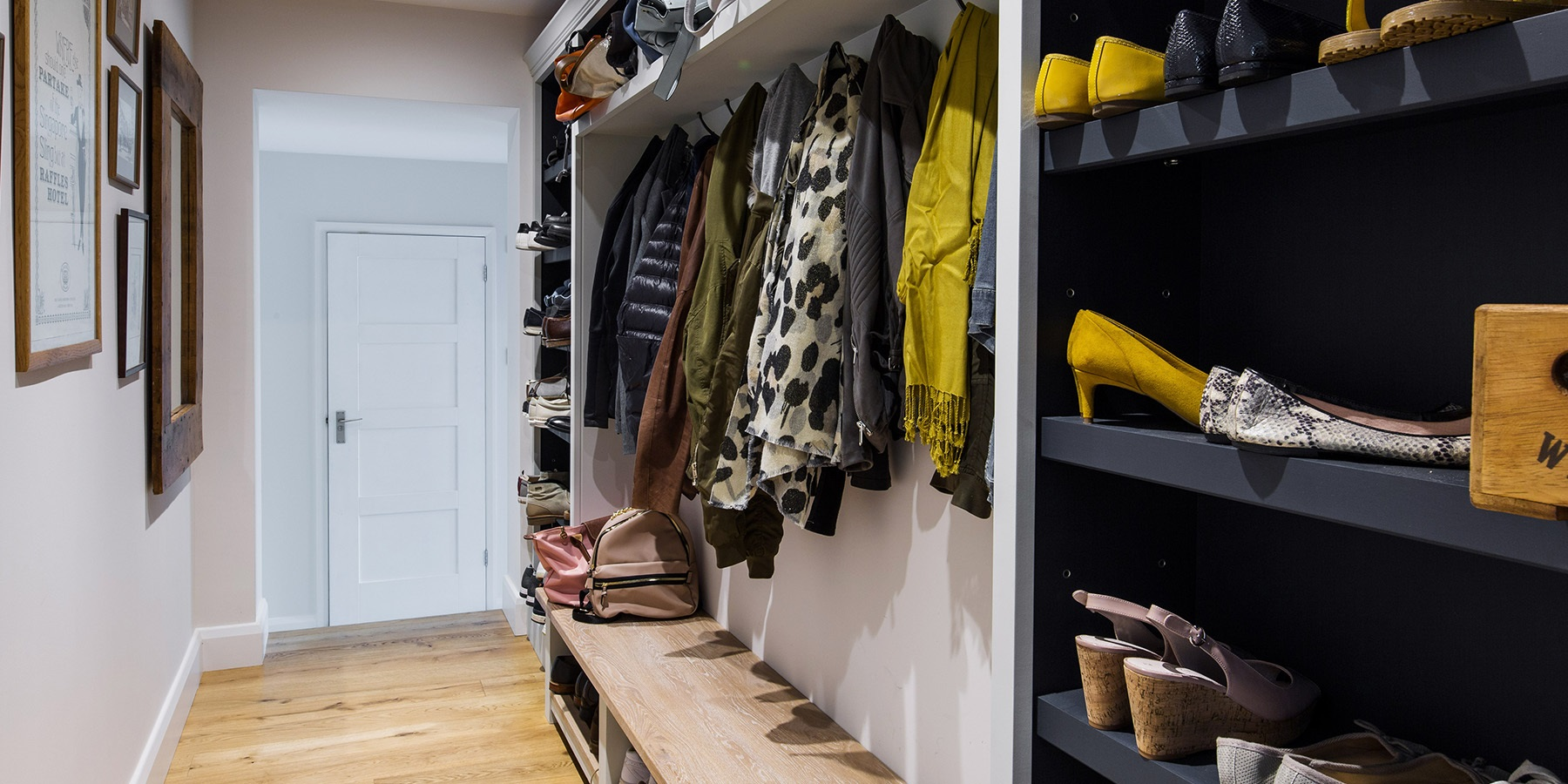 Bespoke Bootroom & Entrance Hall Storage - Made-to-measure entrance hall storage solutions with bench seating and coat hooks.