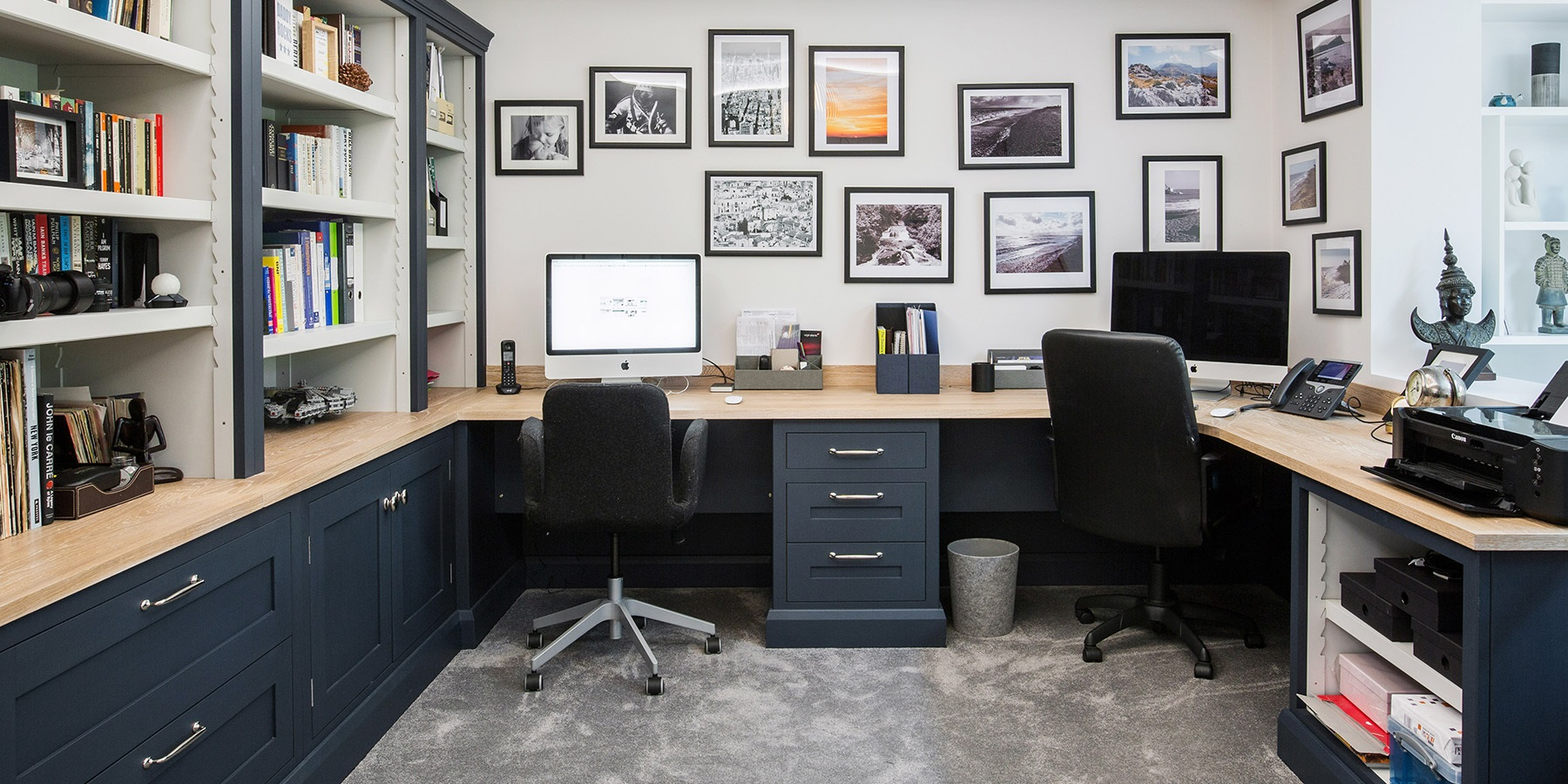 Bespoke Home Office Furniture - Handmade home office furniture and storage solutions, with book shelves and designated desk space.