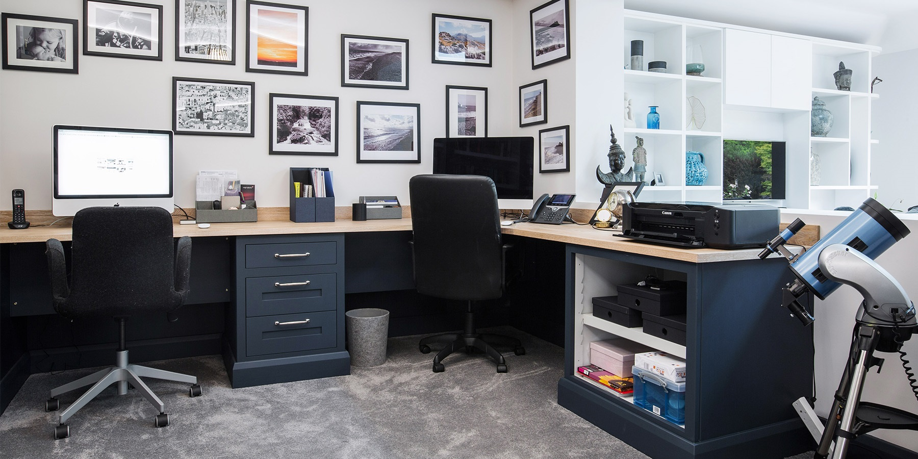 Custom Made Home Office Furniture - Bespoke, made-to-measure home office furniture in Royal Blue, with wooden worktops.