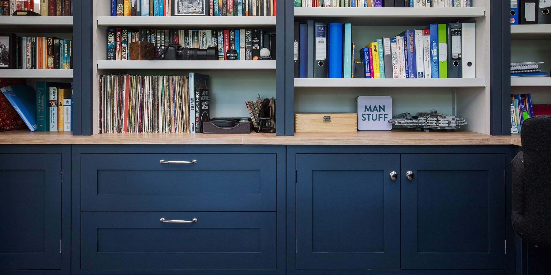 Bespoke Home Office Book Shelves - Handmade, bespoke bookshelves with adjustable shelf heights and storage solutions.