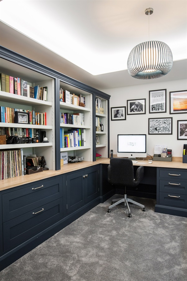 Bespoke Home Office Furniture - Burlanes handmade home office furniture with bookshelves and wooden worktops.