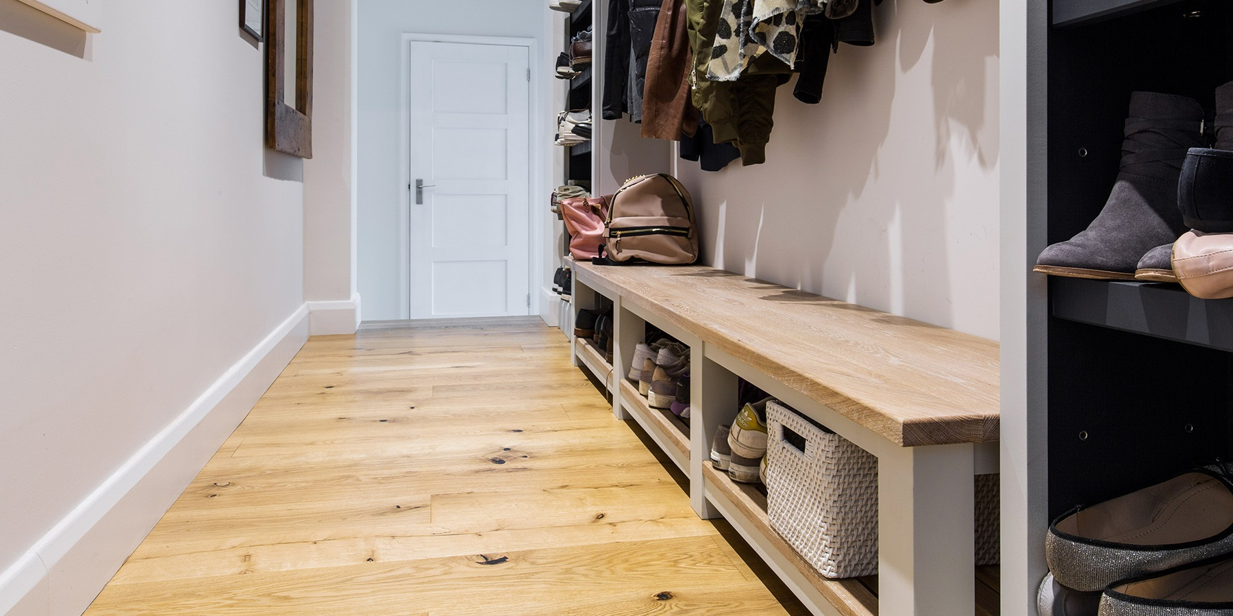 Bespoke Bootroom Shoe Storage - Handmade bench seating with shoe storage.