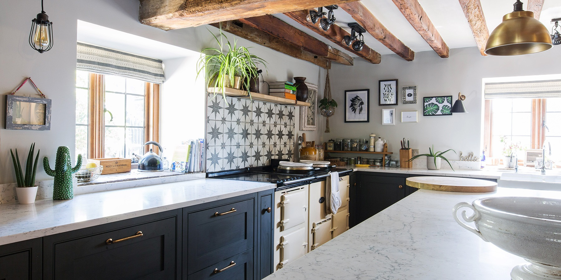 Bespoke, Rustic Shaker Kitchen - Handmade Wellsdown cabinetry handpainted in Studio Green by Farrow & Ball, with beautiful brass handles and white worktops.