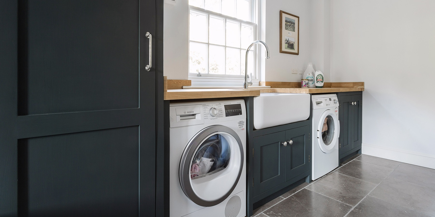 Handmade Utility Room Storage  - Burlanes handmade utility room furniture with washing machine, tumble dryer and storage solutions.
