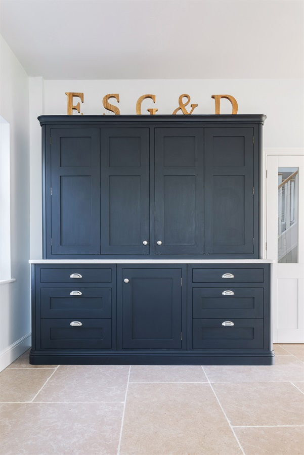 Luxury Handmade Breakfast Pantry - Burlanes bespoke breakfast pantry with b-fold doors and silver handles.