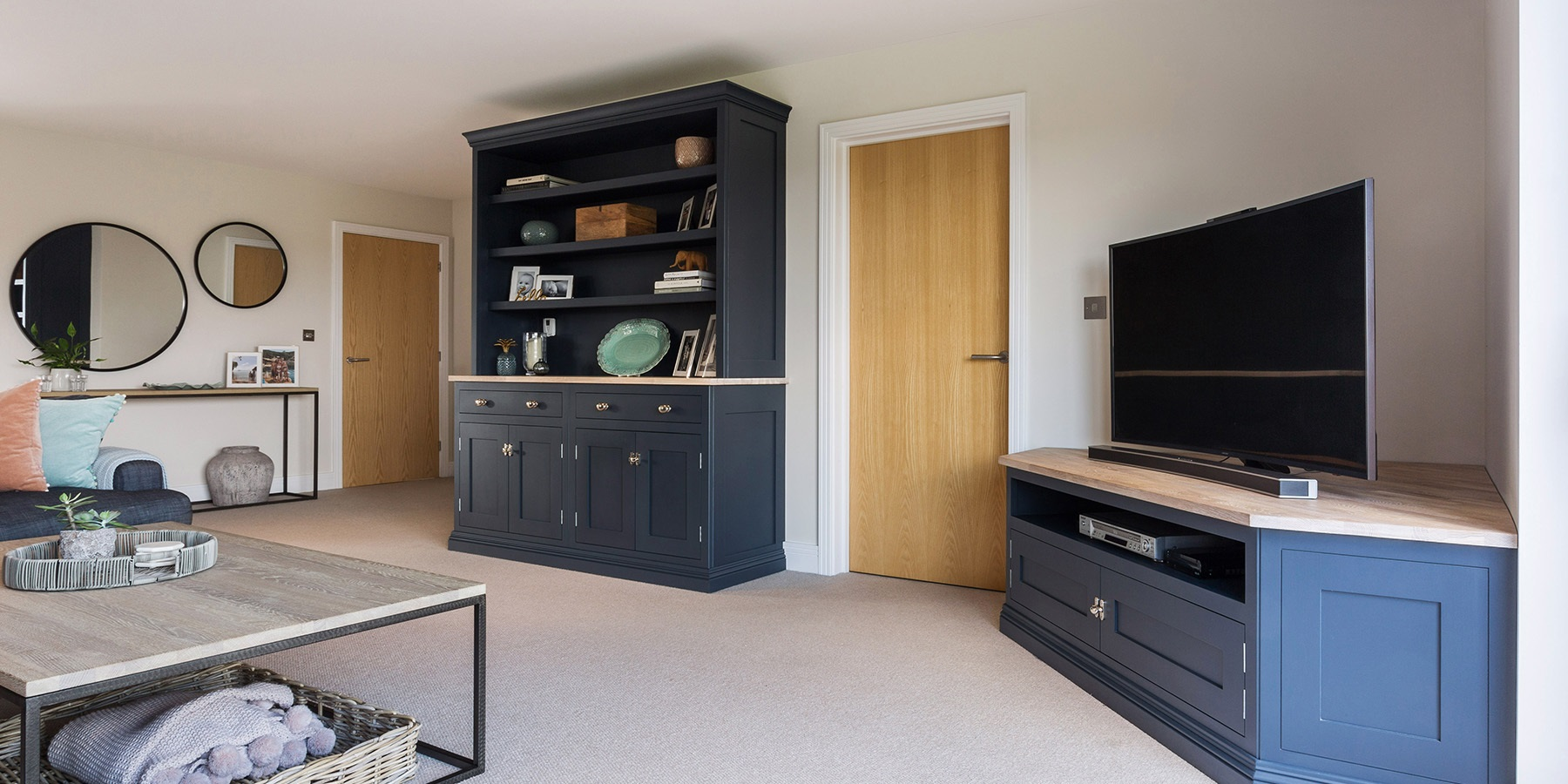 Handmade Living Room Furniture - Burlanes bespoke television unit and living room dresser.