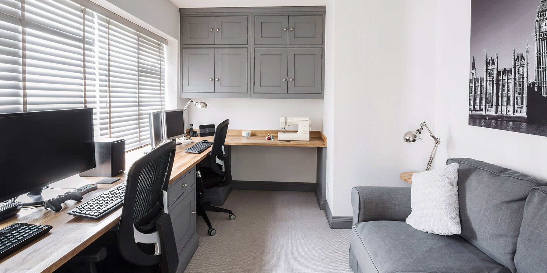 Handmade Home Office Furniture - Made-to-measure beautiful grey dual home office by Burlanes, with wooden worktops and overhead storage.