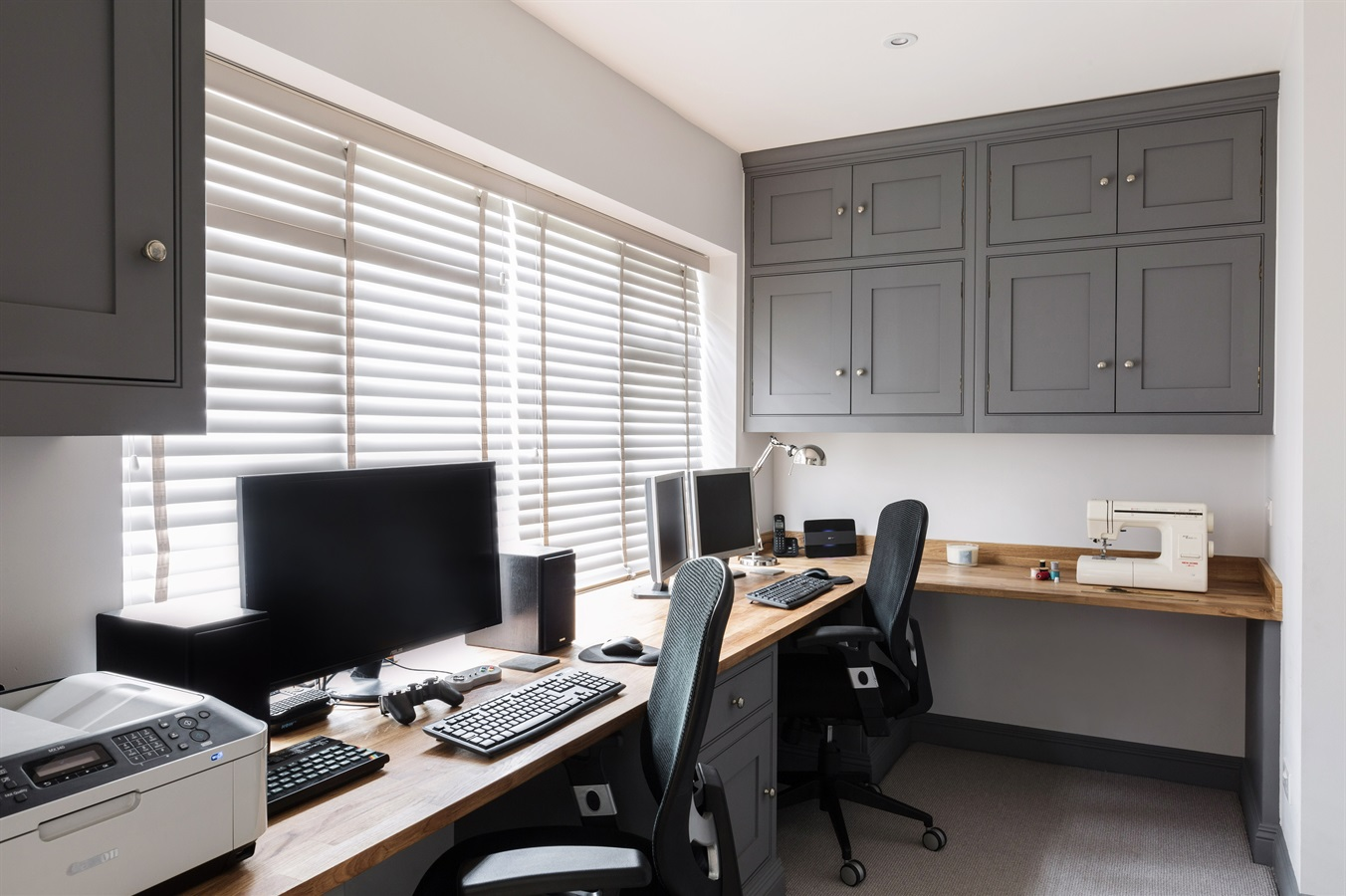 Burlanes Handmade Home Office Furniture - Burlanes bespoke home office furniture with ample storage space and wooden worktops.