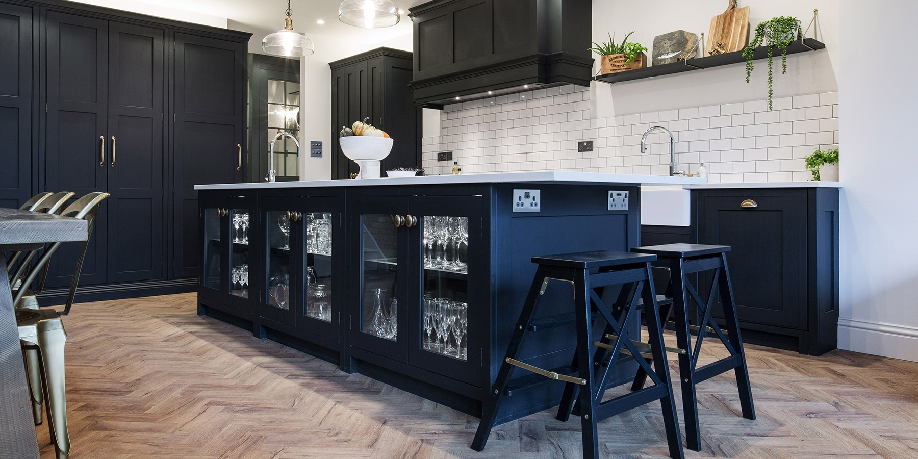 Industrial Style Handmade Shaker Kitchen - Beautiful bespoke Burlanes Hoyden kitchen with large kitchen island, glass doors, beautiful big larder unit and pendant lighting.